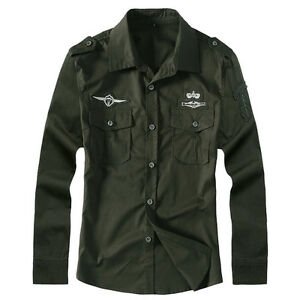 New-Fashion-Mens-Air-Force-Army-Military-Casual-Long-Sleeve-Cotton-Shirts-ZC6308