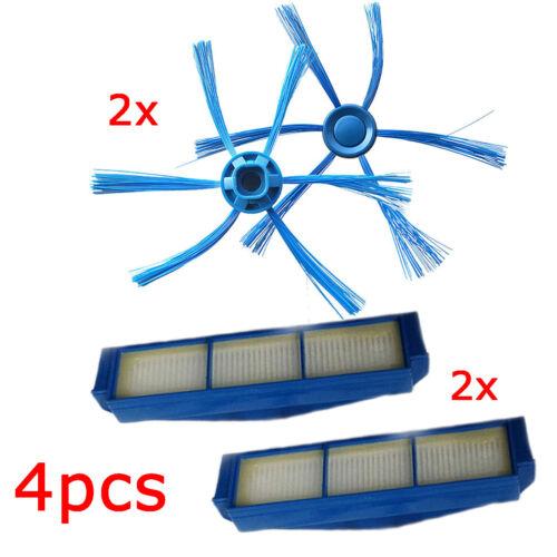 2 Seitenbürste+2 Hepa-Filter für Philips FC8007 FC8792 FC8794 FC8796 Staubsauger