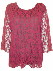 EAONPLUS Gorgeous WINE RED Overlaid Lace 3//4 Sleeve Top Sizes UK 18 to 32 NEW