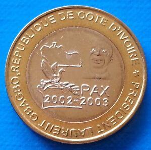 Ivory-Coast-6000-CFA-francs-2003-UNC-4-Africa-PAX-Gbagbo-Elephant-Bi-metallic
