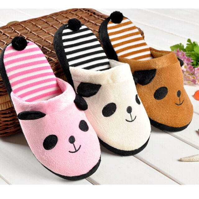 Cute Women Coral Velvet Panda With Tail Slippers Soft Nonslip Shoes Home Indoor