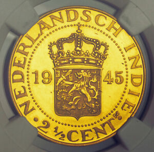 1945-Netherlands-East-Indies-Proof-Pattern-Gold-2-Cents-KM-Pn34-NGC-PF-65