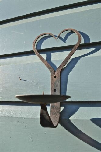 """HANDWROUGHT IRON SHAKER HEART CANDLE WALL SCONCE 8/"""" CANDLE HOLDER FOLK ART WH12"""