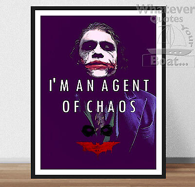 Supervillan Zitat Poster Wandkunst Aufdruck Bild Batman The Joker Rahmen
