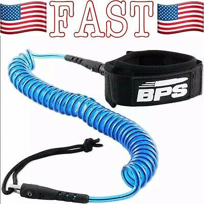 10ft Heavy Duty Coiled Surfboard Paddle Board Leash with Stainless Steel Swivel