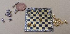 1:12 set di scacchi in metallo & Board giocattolo in miniatura casa delle bambole Accessorio Gioco