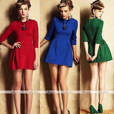 Rare Womens 3/4 Sleeves Slim Waist Dress Chic Elastic Sexy Mini Skirt Dress