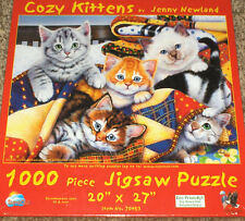 "SunsOut / Jenny Newland ""Cozy Kittens"" Cats & Quilts 1000 Pc Jigsaw Puzzle NIB"