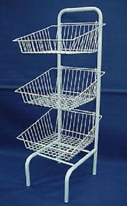 3 x Wire Basket Freestanding Shop Display Unit Shopfittings & Retail Dump Bin