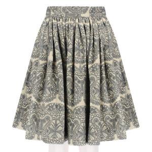 SWASH-London-Khaki-Grey-Filigree-Shadow-Bell-Skirt-XS-UK6