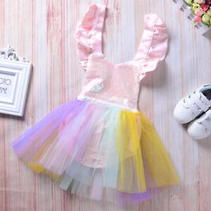 5131097b7 Cute Unicorn Tutu Dress Baby Girls 1st Birthday Rainbow Party Romper ...