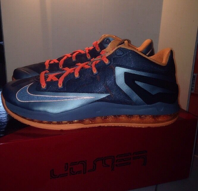 New DS Nike Lebron XI 11 Low Mens 642849-002 Lava Grey Basketball Size 10.5