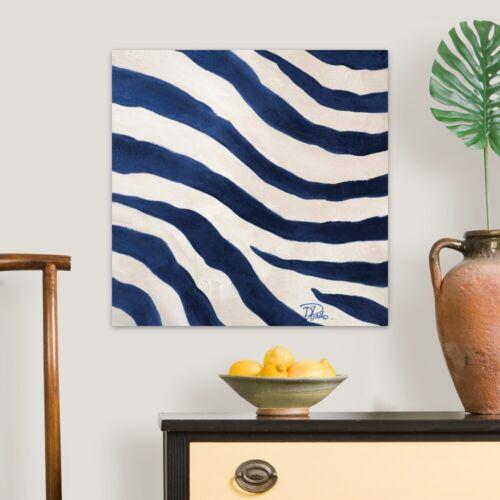 Zebra Home Decor Contemporary Blue Zebra II Canvas Wall Art Print
