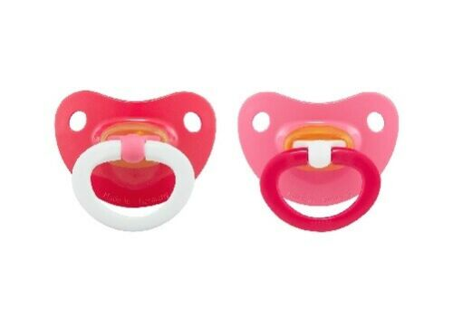 Nuk Baby Girl 2-Pack Latex Orthodontic Pacifiers Red//Pink Size 18-36M