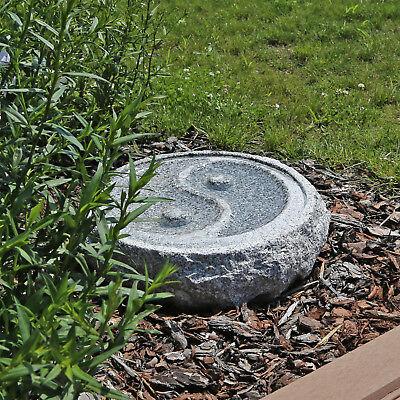 Granit Stein Vogeltränke Garten Vogelbad Yin Yang Wasserschale Vogel Bad Tränke