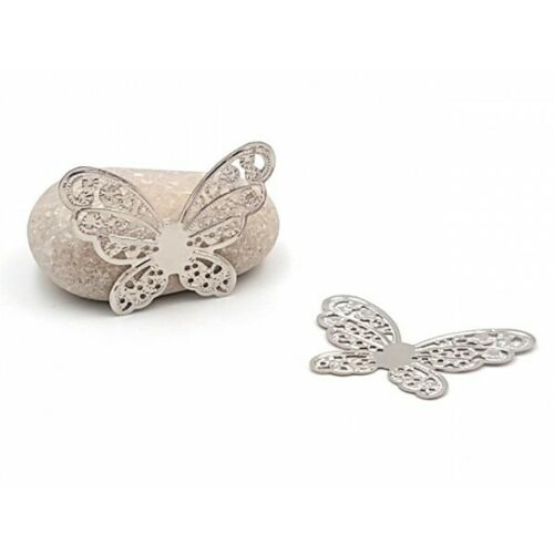 20 estampes papillons argent gris 43mm Neuf