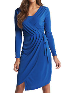 a9c4e7591567d NEW ex Marks   Spencer BLUE Asymmetric Drape Wrap Midi Dress 8 10 12 ...