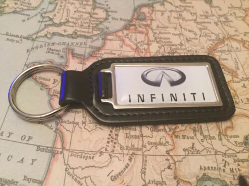 INFINITI Quality Black Real Leather Keyring  OBLONG