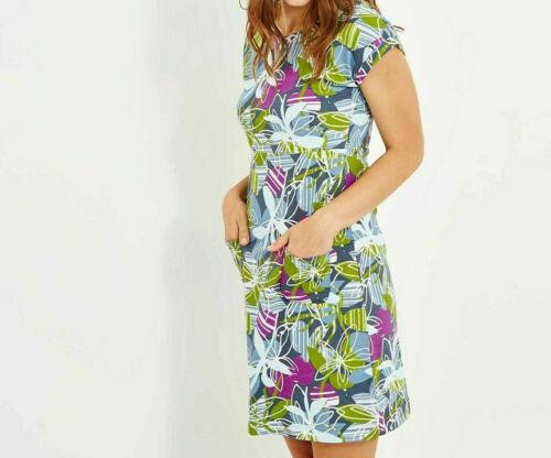Ladies Tallahassee Printed Super-soft Jersey Cotton Dress Petrol Blue 8-18
