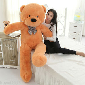 63in-Giant-Big-Teddy-Bear-Plush-Soft-Toys-Doll-Brown-Stuffed-Animal-Pillow-Gift