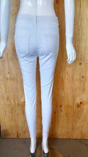 Mujer señoras del dril de algodón blanco nuevo cintura alta elástica rodilla Rip Skinny Fit Jeans 8-16