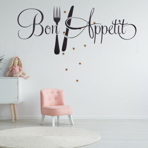 Bon Appetit Kitchen Wall Sticker Vinyl Removable Wall Decal Dining Room Decor MF