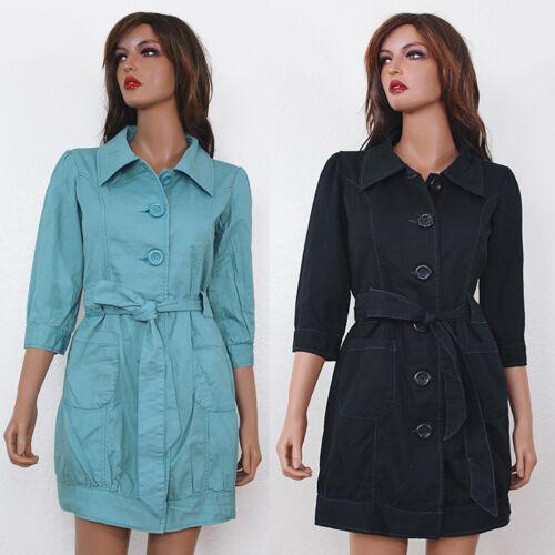 New Black Blue Cotton Button Front Tie Waist Womens Trench Coat Jacket S M L XL