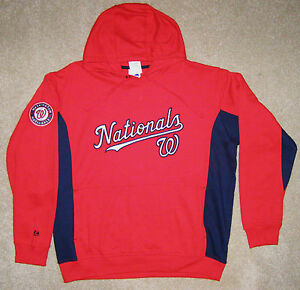 new style 52bd2 ca530 Details about Majestic Washington Nationals The Captain Red Pullover Hoodie  Jacket XL