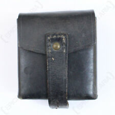 ORIGINAL LEATHER ITALIAN BLACK CARTRIDGE POUCH - Leather Army Military Mag Bag