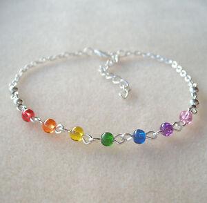 chakra ankle bracelet Sterling silver gemstone charm rainbow anklet ankle bracelet gemstone chakra anklet