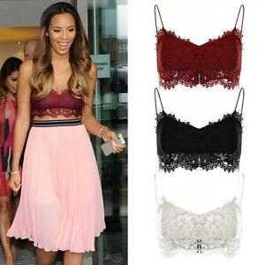 Ladies-Floral-Lace-Mesh-Overlay-Strappy-Zip-Back-Women-039-s-Short-Bralet-Crop-Top
