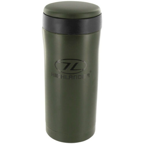 HIGHLANDER SEALED THERMAL MUG TRAVEL CUP INSULATED FLASK CAMPING HYDRATION OLIVE