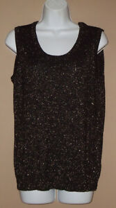 Laura-Ashley-Womens-Size-Medium-Sleeveless-Black-Gold-Sparkle-Thin-Sweater-Top
