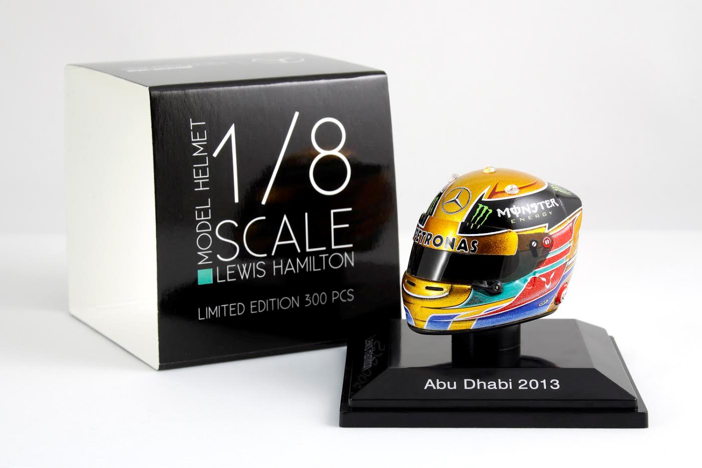Spark 1 8 Scale Lewis Hamilton Mercedes AMG Petronas 2013 Casque Abu Dhabi