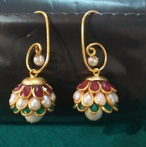 Handmade Pearl Crystal Dangle Drop Stud Jhumka Earring Jewelry