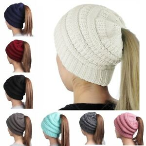 Women-039-s-Messy-High-Bun-Ponytail-Stretchy-Knit-Beanie-Skull-Winter-Warm-Hat-ca