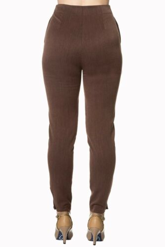 Women/'s Brown Vintage Retro 1950s High Waist Slim Fit Trousers By Banned Apparel