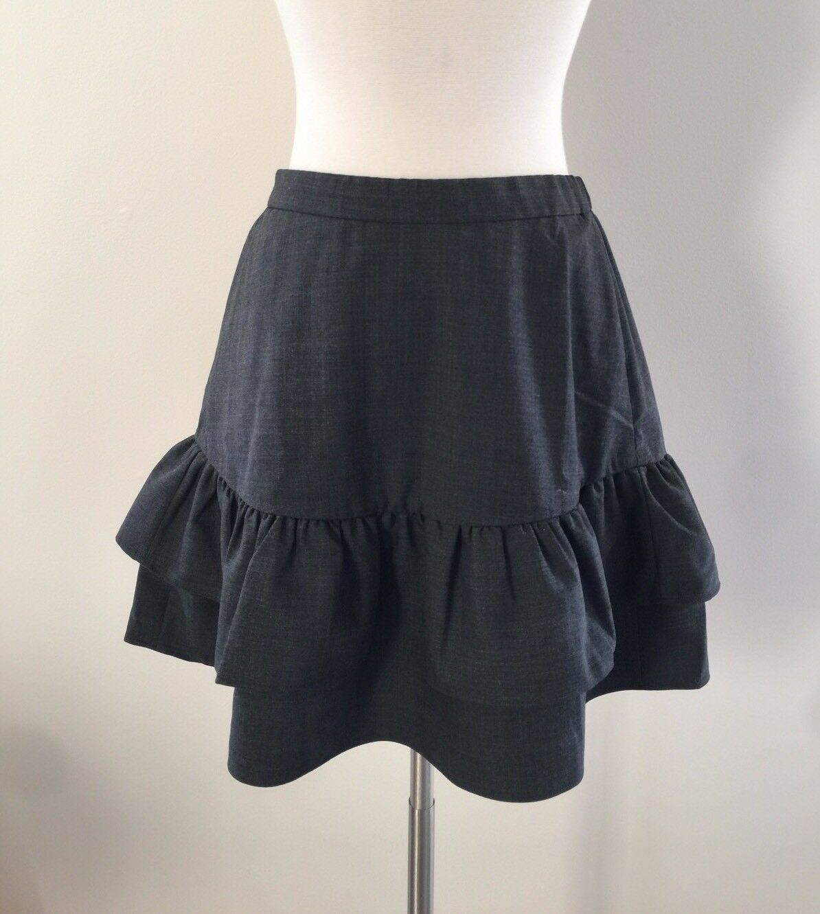 New J Crew Wool Flannel Ruffle Office Skirt Heather Charcoal Grey Sz 0 G7119