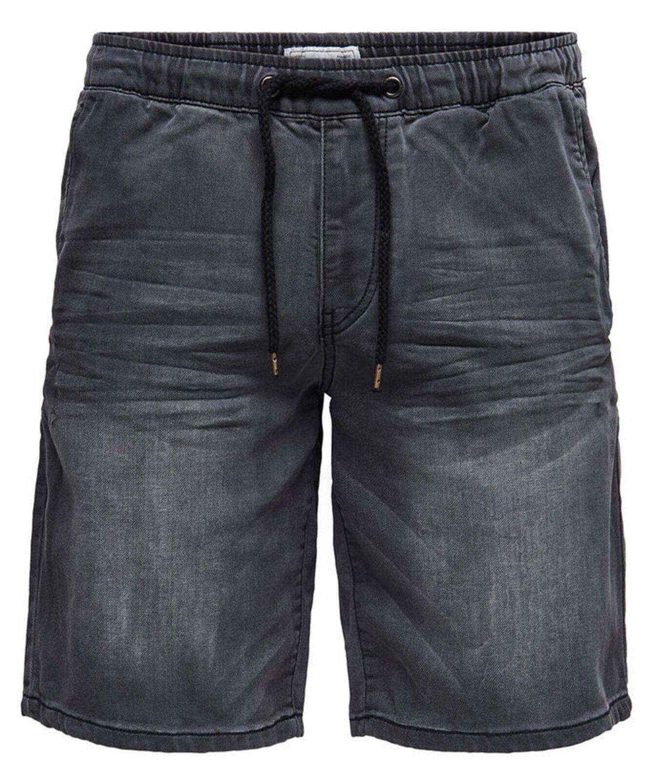 Sons Pantaloncini da Uomo Denim Grigio Azzurro Vintage Jogging Jogging Jogging Estate Jeans aa146a