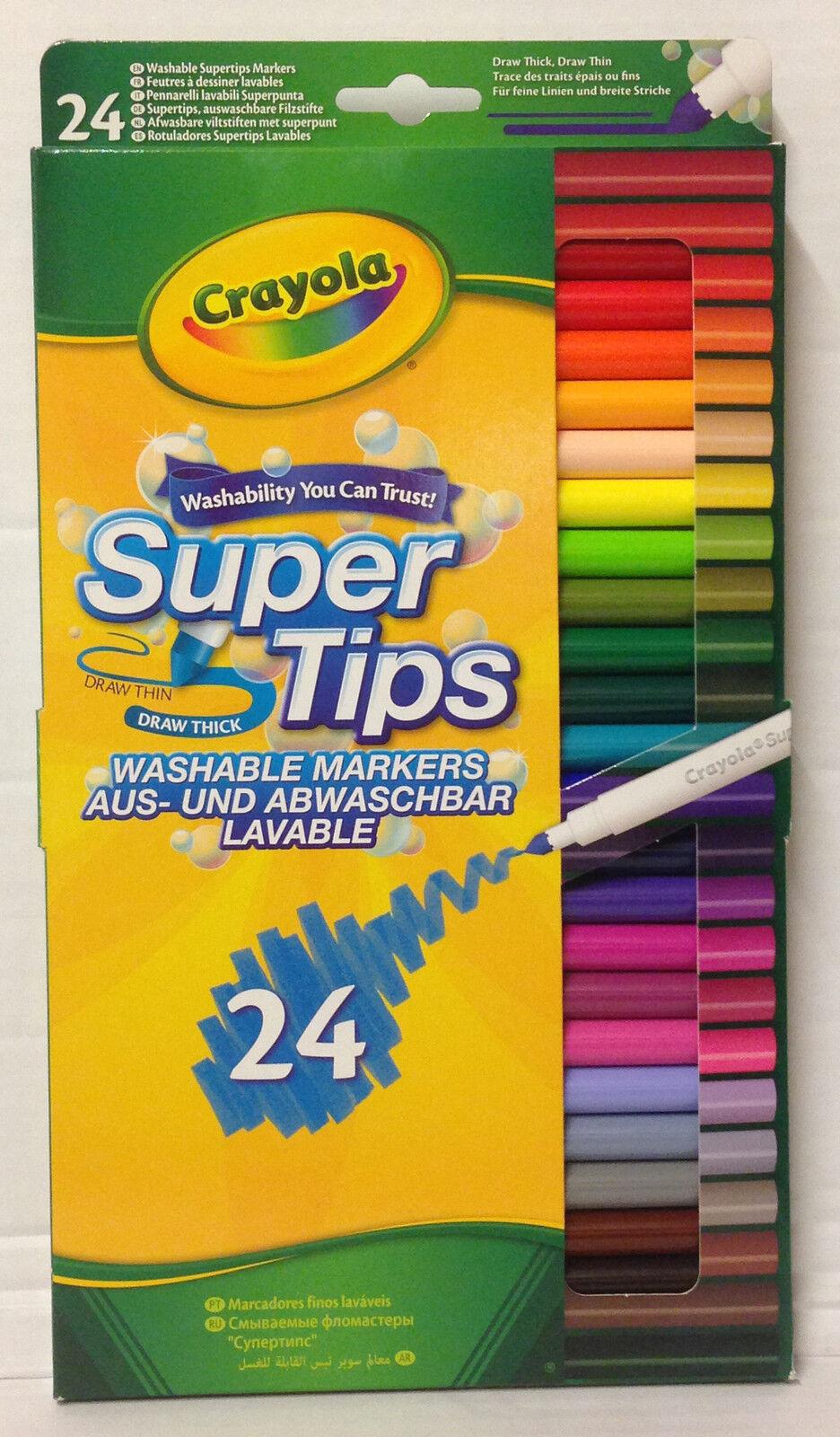 Crayola Supertips 24 Washable Markers Felt Tips Pens 24 Pack 58 5057
