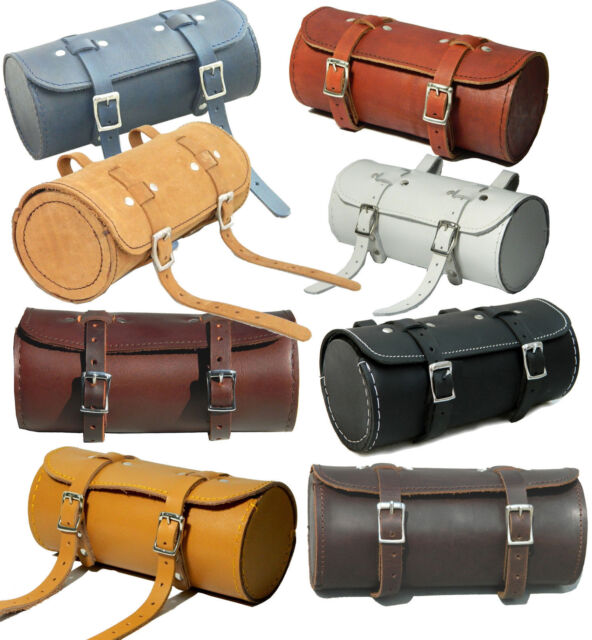 Real Leather Bicycle Saddle Bag Utility Tool Box bike vintage handmade stich New