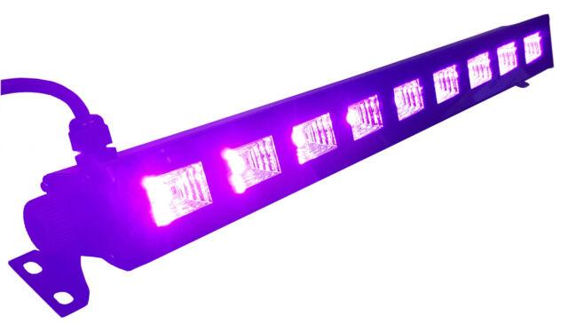 """IBIZA Light """"LED UV-BAR"""" 9x 3 Watt Schwarzlicht UV LED Leiste mit Schalter!"""