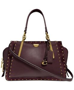 Coach-35617-Red-Satchel-Oxblood-Border-Rivets-Mixed-Leather-Dreamer-Handbag