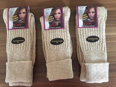 """3 Pairs Ladies Long Quality Chunky Thermal Socks Hike Boot Socks Krem"