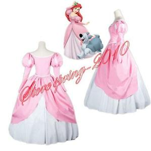 The Little Mermaid Princess Ariel Pink Dress Custom Made Cosplay Costume S Xl Ebay