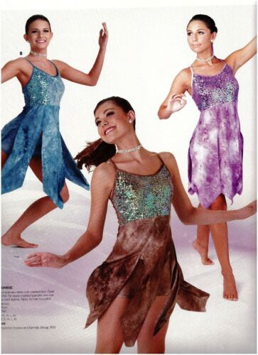 NWT Lyrical Dance COSTUME 3 colors Tie dye Sequin bodice Flyer skirt w//shorts