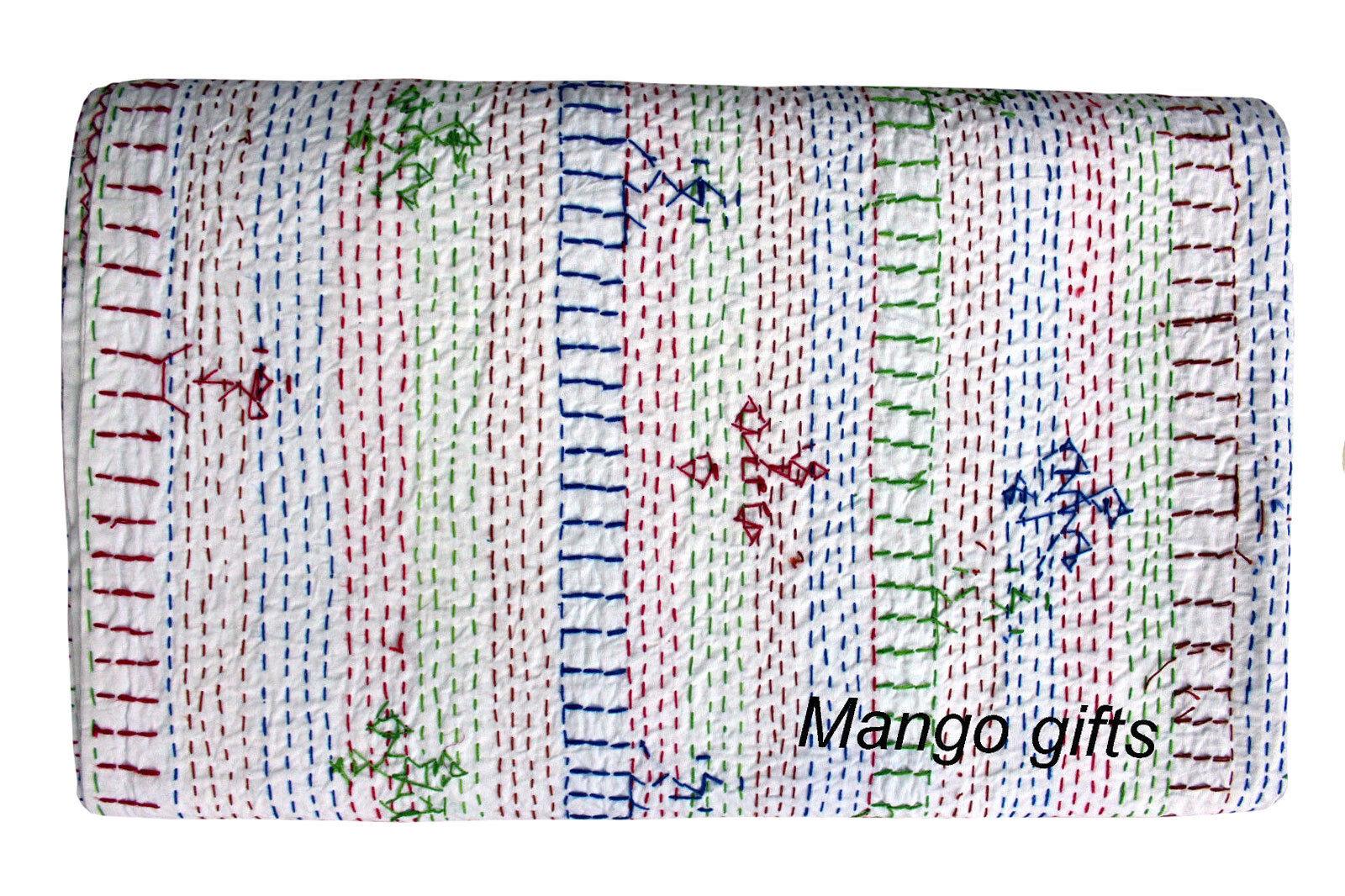 Indian Hand Art Kantha Embroiderosso Ralli Throw Queen Dimensione Cotton Bedspread bianca