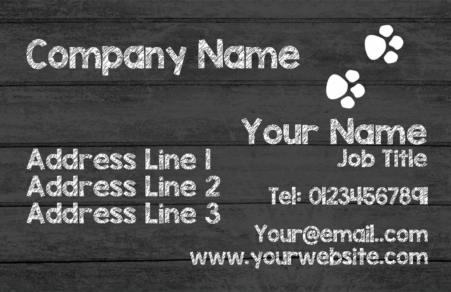 grau Wood Paw Prints Personalised Business Cards