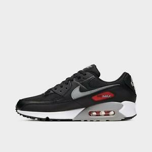 Brand-New-Men-039-s-Nike-Air-Max-90-Athletic-Leather-Lifestyle-Sneakers-Black-Gray