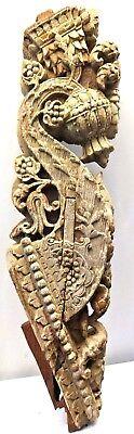 VINTAGE BRACKET CURVED WOODEN SHELF CORBEL INDIAN OLD GUJARAT ART ARCHITECTURAL   eBay